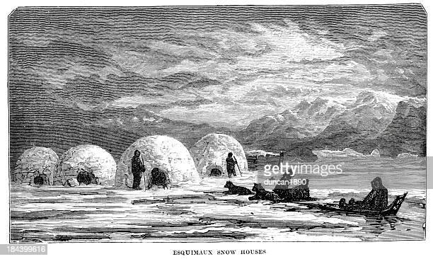 illustrations, cliparts, dessins animés et icônes de eskimos maisons de neige - igloo