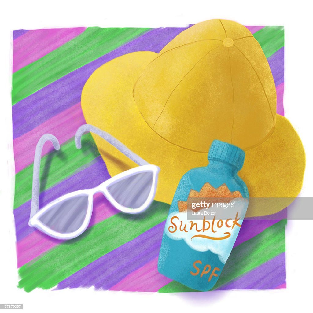 Essential accessories for a day at the beach - hat, sunglasses, and sunblock : Illustration