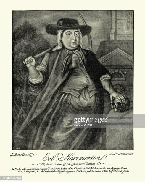 エステル・ハマートン、キングストン・アポン・テムズ教会の墓掘り、18世紀 - 墓堀人点のイラスト素材/クリップアート素材/マンガ素材/アイコン素材
