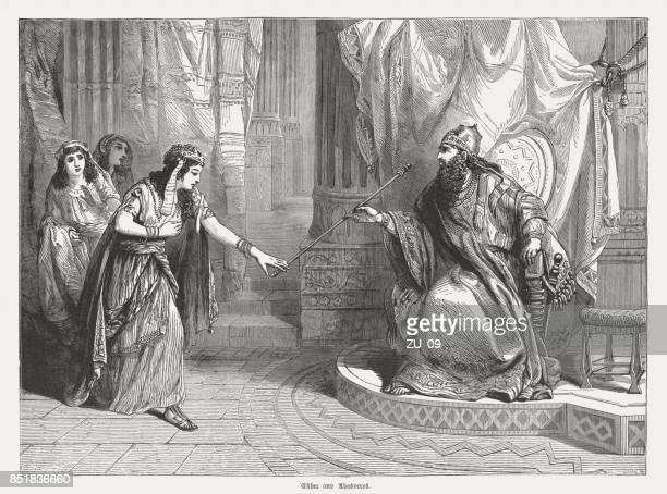 esther geht zum könig ahasveros, holzstich, 1886 veröffentlicht - iran persepolis stock-grafiken, -clipart, -cartoons und -symbole