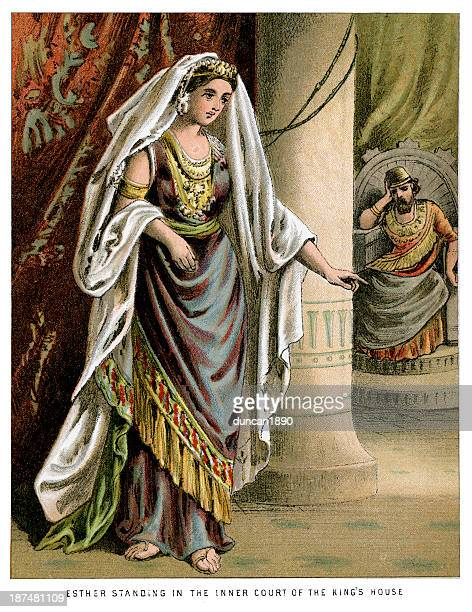 esther standing in the inner court - queen royal person stock illustrations