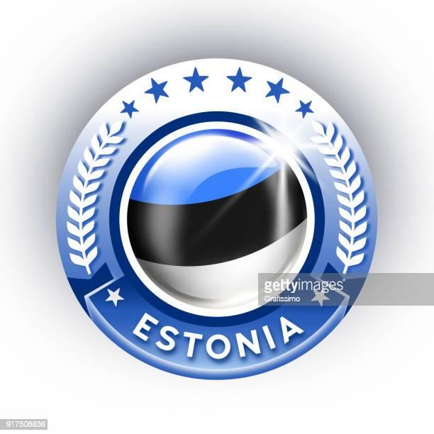 Estonia button with estonian flag isolated on white
