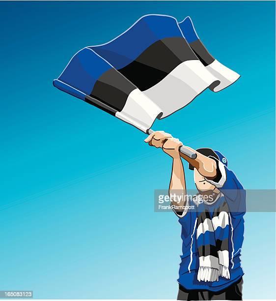 Estonia Waving Flag Soccer Fan