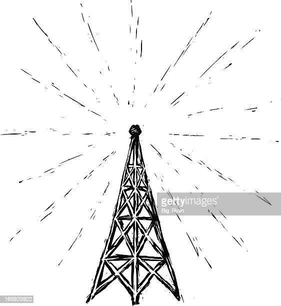 ilustraciones, imágenes clip art, dibujos animados e iconos de stock de funkturm grabados - torres de telecomunicaciones
