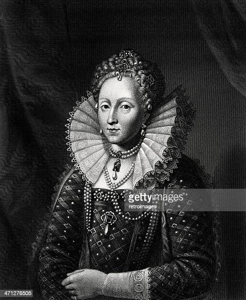 etching of queen elizabeth the first (engraved illustration) - tudor stock illustrations