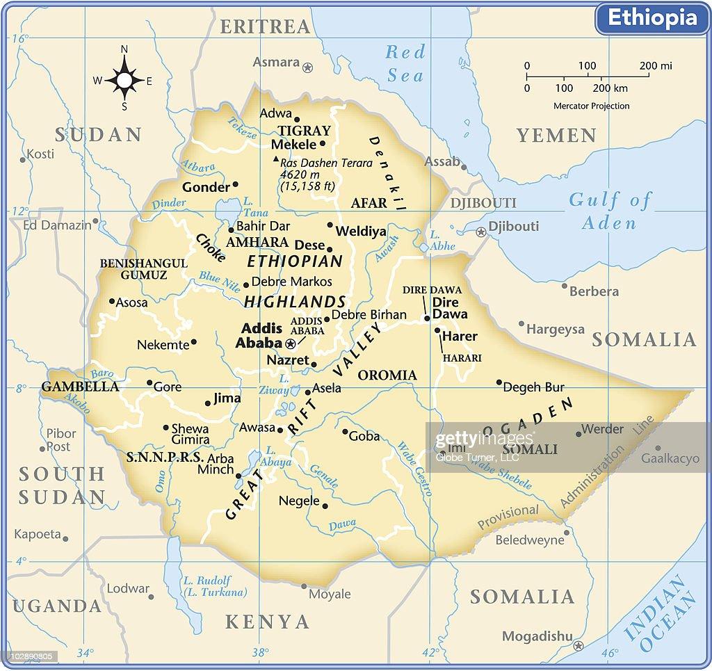 Ethiopia country map : stock illustration
