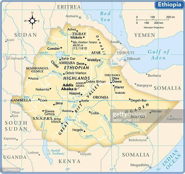 ethiopia country map - ethiopia stock illustrations, clip art, cartoons, & icons