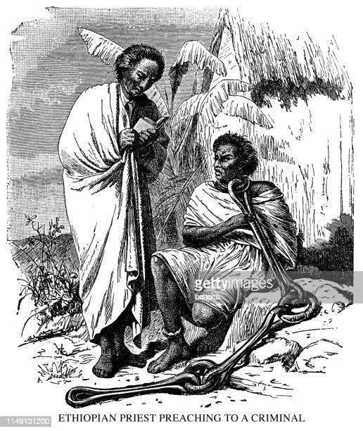 ilustrações, clipart, desenhos animados e ícones de sacerdote etíope pregando a um criminoso - ethiopia
