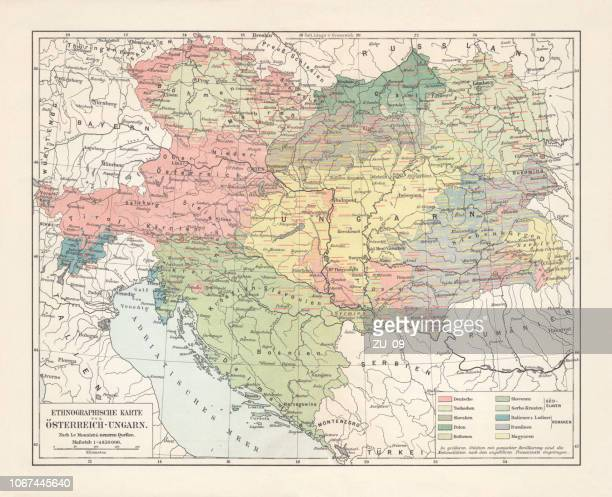 ethnological map of the austro-hungarian empire, lithograph, published in 1897 - austrian culture stock illustrations