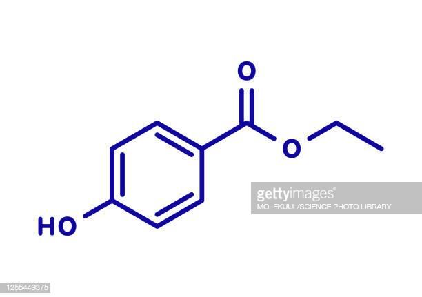 ethyl paraben preservative molecule, illustration - chemistry stock illustrations