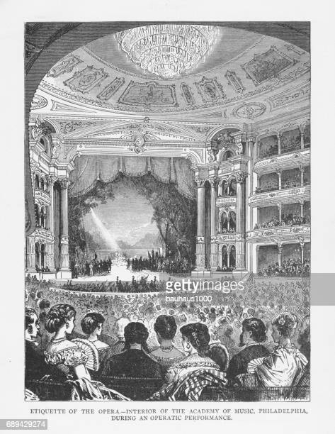 Etiquette of the Opera - Interior of the Academy of Music, Philadelphia, During an Operatic Performance Victorian Engraving, 1879