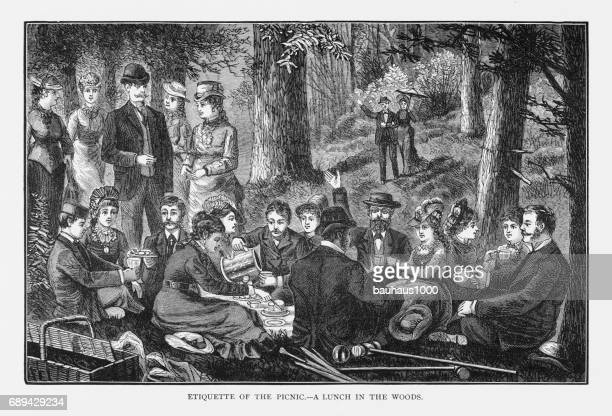Etiquette of the Picnic – A Lunch in the Woods Victorian Engraving, 1879
