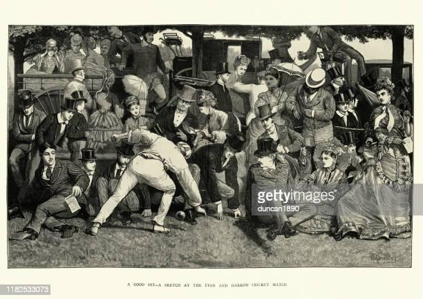 eton und harrow cricket match, 1872, viktorianische19. jahrhundert - berkshire england stock-grafiken, -clipart, -cartoons und -symbole