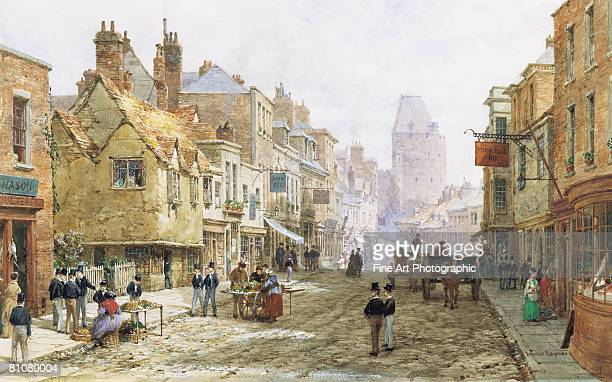 eton high street - large group of people stock illustrations