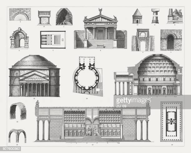etruscan and roman architecture, wood emngravings, published in 1897 - temple building stock illustrations, clip art, cartoons, & icons