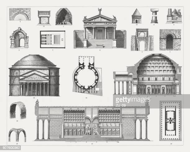 stockillustraties, clipart, cartoons en iconen met etruskische en romeinse architectuur, houten emngravings, gepubliceerd in 1897 - cupola