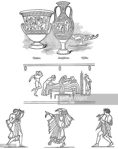 etruscan art - etruscan stock illustrations