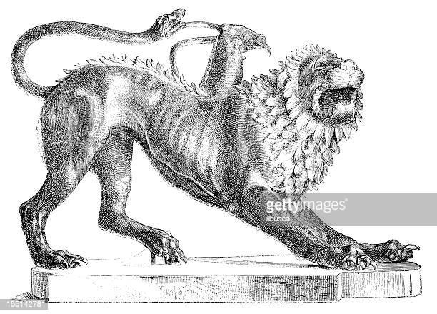 etruscan chimera - etruscan stock illustrations
