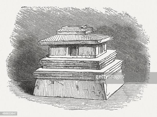 etruscan cinerarium in the form of a residential building - etruscan stock illustrations