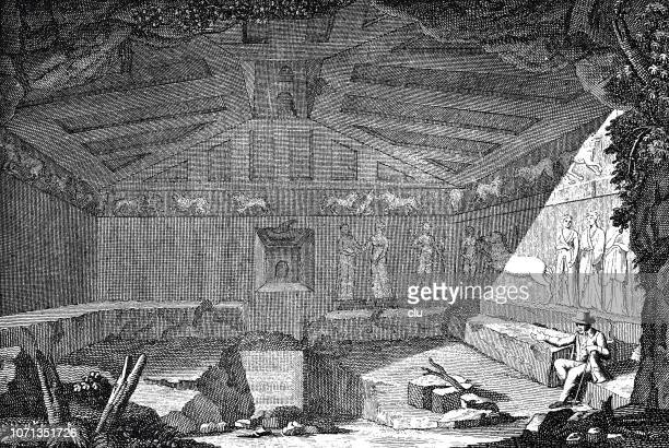 etruscan rock tomb - etruscan stock illustrations