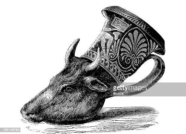 etruscan rython - etruscan stock illustrations