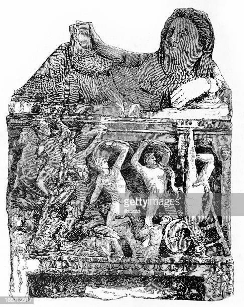 etruscan sarcophage tomb - etruscan stock illustrations