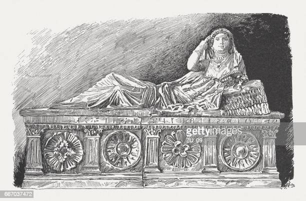etruscan sarcophagus of letitia saeianti (3rd century bc) - etruscan stock illustrations