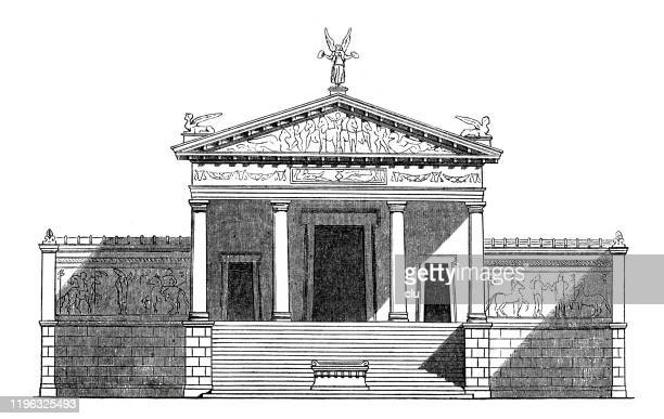 etruscan temple - etruscan stock illustrations