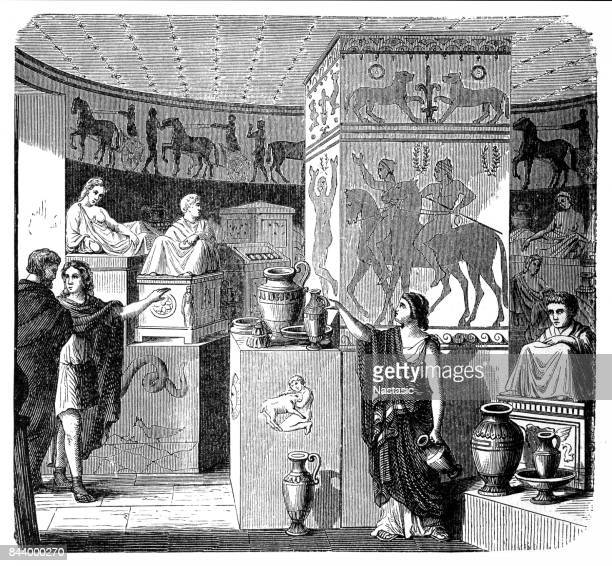 etruscan tomb, volterra, visual reconstruction - etruscan stock illustrations
