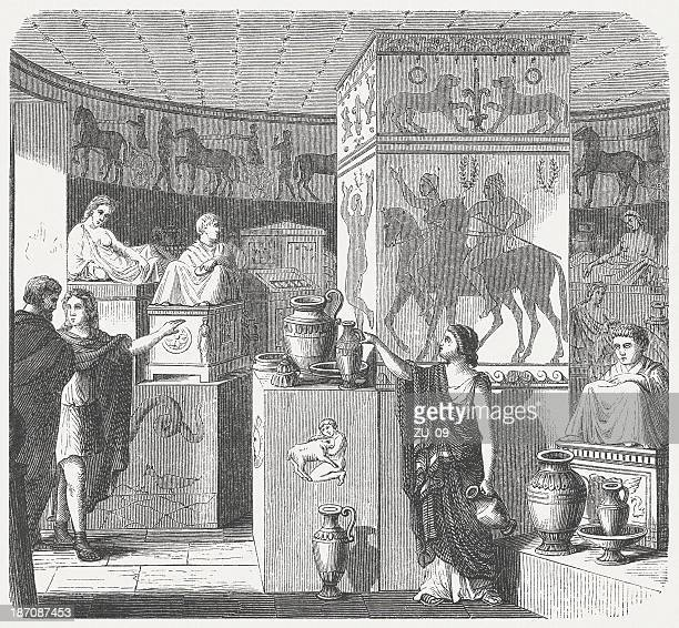 etruscan tomb, volterra, visual reconstruction, wood engraving, published in 1876 - etruscan stock illustrations