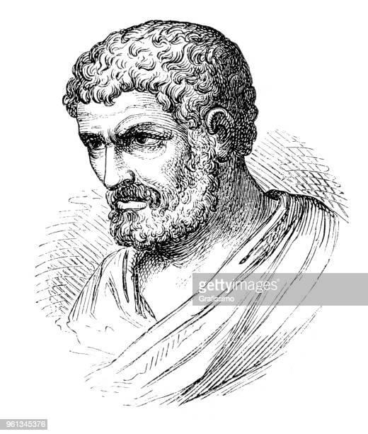 ilustraciones, imágenes clip art, dibujos animados e iconos de stock de retrato de griego matemático euclid 1880 - filosofos griegos