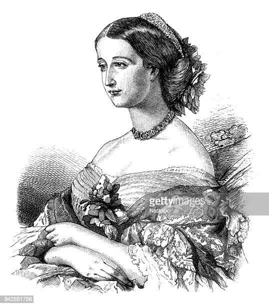 ilustraciones, imágenes clip art, dibujos animados e iconos de stock de eugenia de montijo empress de francia - emperatriz