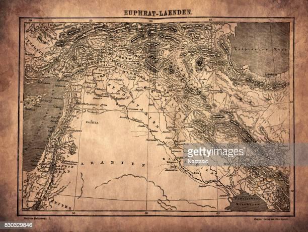 ilustraciones, imágenes clip art, dibujos animados e iconos de stock de mapa de eufrates - países del golfo