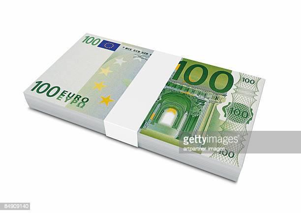 100 euro bills bundle - european union euro note stock illustrations, clip art, cartoons, & icons