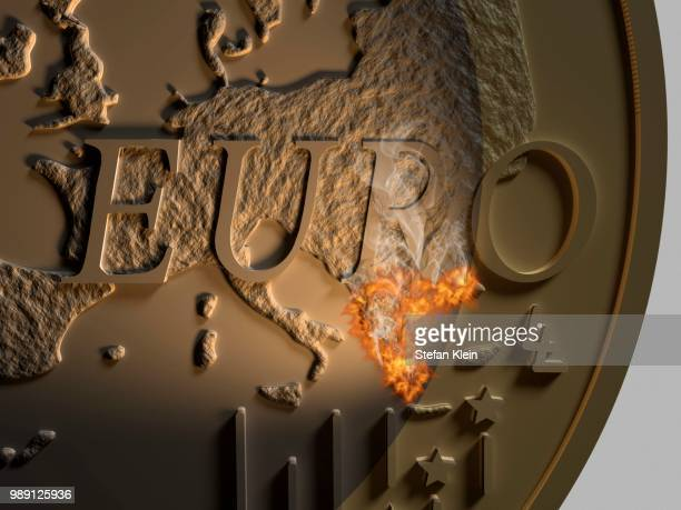 ilustraciones, imágenes clip art, dibujos animados e iconos de stock de euro coin, close-up, euro zone with greece in flames, symbolic image - política y gobierno