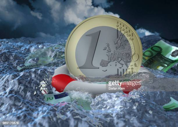 Euro coin floating in water with a life buoy
