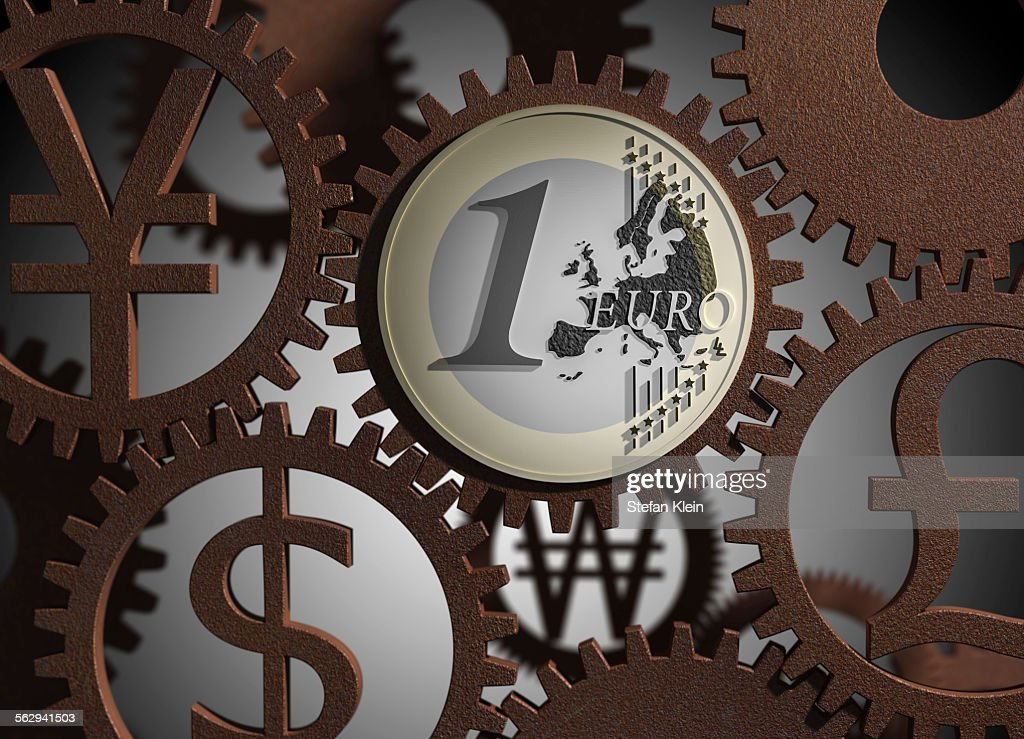 Euro Coin Various Currency Symbols Cog Wheels Illustration Stock