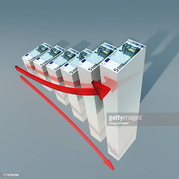 euro currency notes as a bar chart - european union euro note stock illustrations, clip art, cartoons, & icons