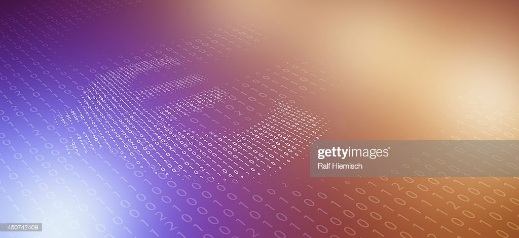 Euro Symbol Made Of Binary Code Reflected Against Color Gradient