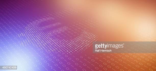 ilustrações de stock, clip art, desenhos animados e ícones de euro symbol made of binary code, reflected against color gradient background - unidade monetária da união europeia