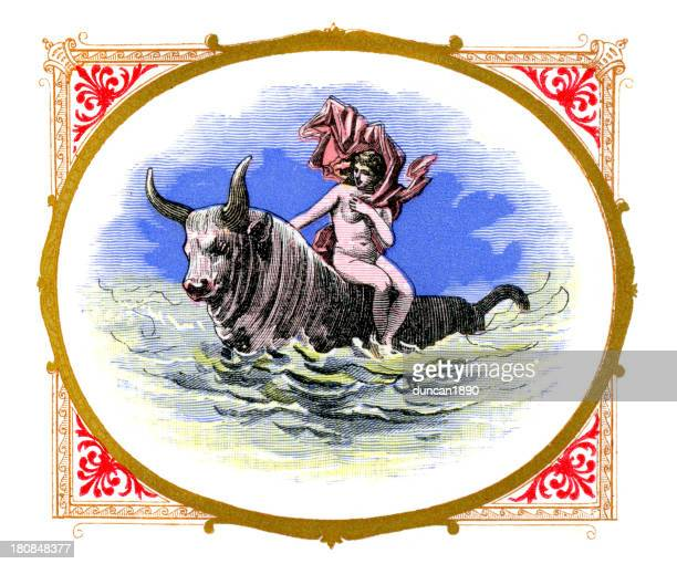 europa and the bull - mythological character stock illustrations, clip art, cartoons, & icons