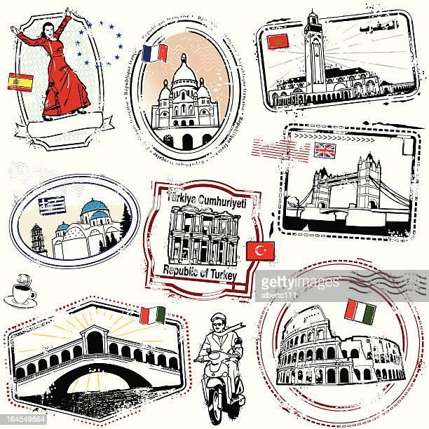 europa exotica! - santorini stock illustrations