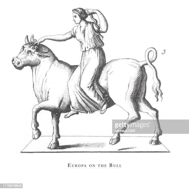 雄牛のエウロパ、古典的な神々と神話の文字彫刻アンティークイラスト、1851年に出版 - エウロパ点のイラスト素材/クリップアート素材/マンガ素材/アイコン素材