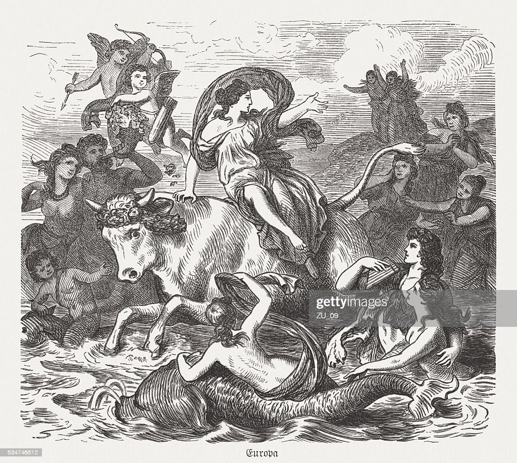 Europa on the bull, Greek mythology, wood engraving, published 1880 : Stock Illustration