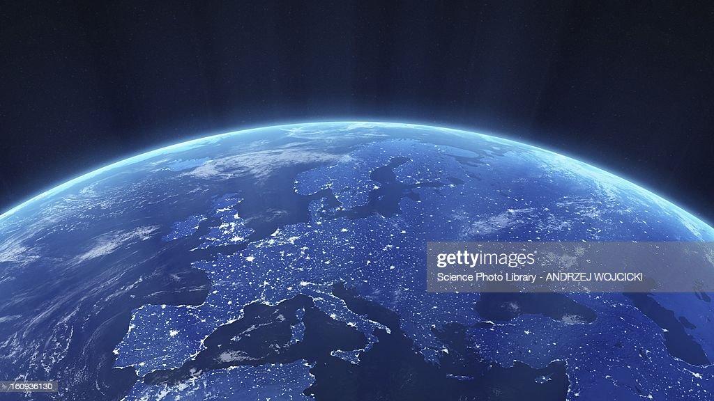 Europe at night, artwork : stock illustration