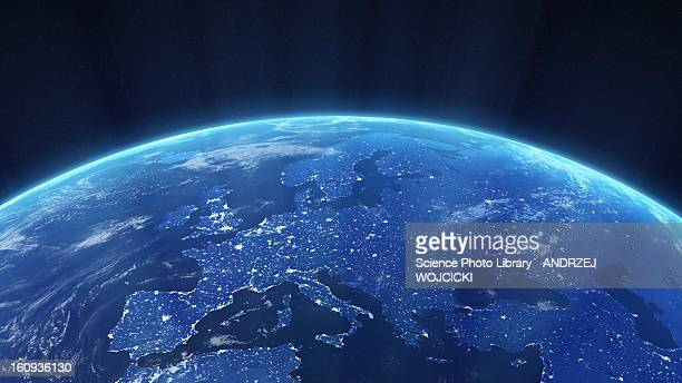 europe at night, artwork - planet space stock illustrations