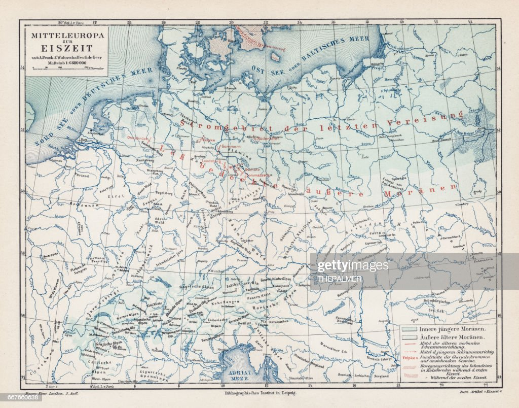 Europe During The Ice Age Map 1895 Stock Illustration Getty Images