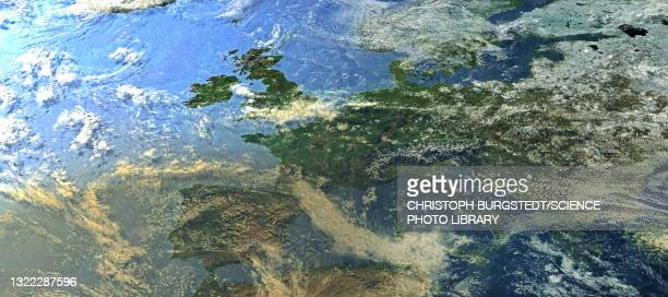 europe from space, illustration - satellite view stock illustrations