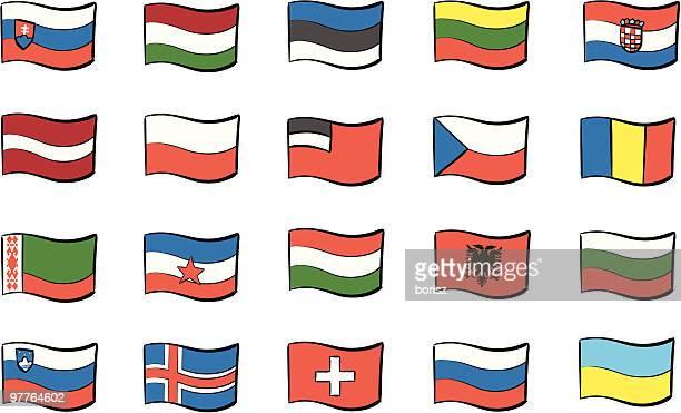 europa - polnische flagge stock-grafiken, -clipart, -cartoons und -symbole