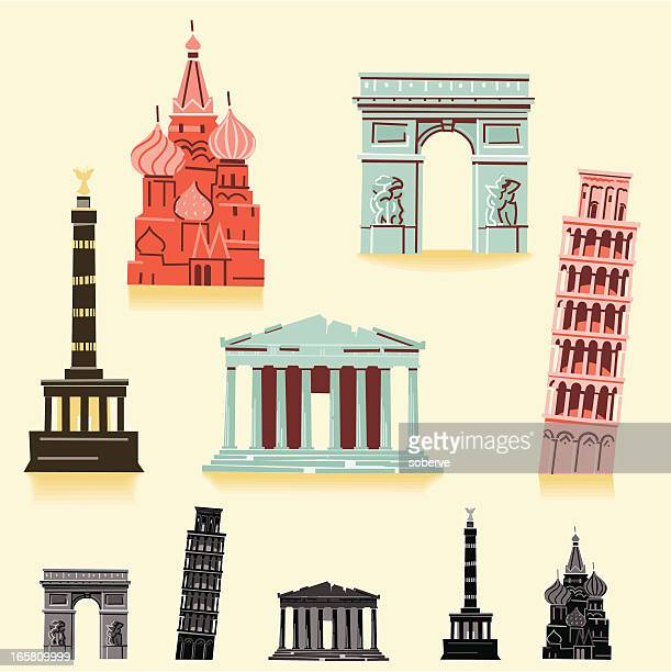 europe landmarks - leaning tower of pisa stock illustrations, clip art, cartoons, & icons